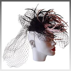 Suiter Hand Made Elegant Feather Hat by Marzi Firenze, Italy
