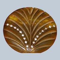Apple Juice Bakelite Carved Deco Brooch with Rhinestones Last Chance SALE