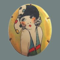 BIG SALE Celluloid Flapper Lady Cameo Style Brooch with Deco Hat and Dress