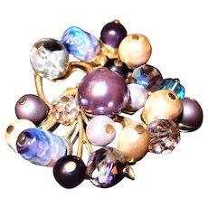 Unusual Coro Purple Beaded Brooch