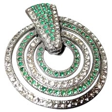 50% off Shop from Home Sale Bulls Eye Target Articulated Fur Clip in Green and Clear Paste Stones