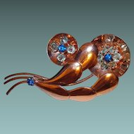 Retro Sterling Floral Brooch Blue Crystal Beads and Rhinestones