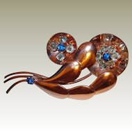 Retro Sterling Floral Brooch FINAL REDUCTION SALE Blue Crystal Beads and Rhinestones