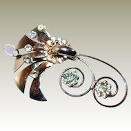 Curly Retro Metal Flower Brooch FINAL REDUCTION SALE with Moonstone and Rhinestones