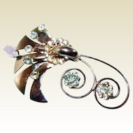 Curly Retro Metal Flower Brooch with Moonstone and Rhinestones