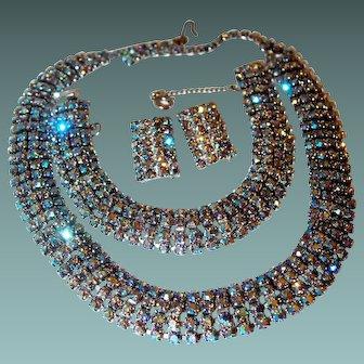 Blue Aurora Borealis Necklace Bracelet Earrings Wedding Set
