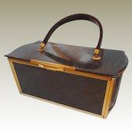 Majestic Lucite Handbag Dark Grey Pearl Pattern Brass Trim FINAL REDUCTION SALE