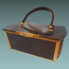 Majestic Lucite Handbag Dark Grey Pearl Pattern Brass Trim