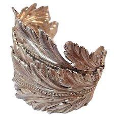 Paris Dominique Aurientis FINAL REDUCTION SALE Greek Style Leaf Cuff Haute Couture Bracelet