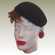 Vintage Glenover New York Black Wool Felt Berte FINAL REDUCTION SALE Side Cap Hat