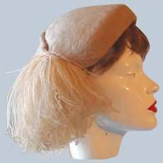 Molded Felt Ostrich Feather Pompom Hat