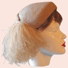 Molded Felt Ostrich Feather Pompom Hat BIG SALE