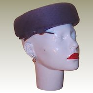 Designer Purple Wool Felt Hat FINAL REDUCTION SALE with Netting, Bow and Rhinestone