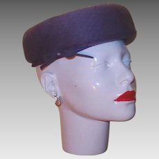 Designer Purple Wool Felt Hat with Netting, Bow and Rhinestone