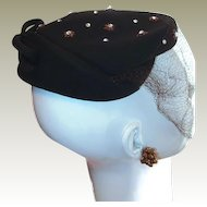 Brown Vintage Wool New York Designer Hat Rhinestone Stars and Bow