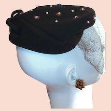 BROWN Vintage Wool New York Designer Rhinestone Stars and Bow