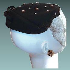 Brown Vintage Wool New York Designer Hat Rhinestone Stars and Bow