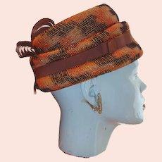 1960s Hanlon Original Orange and Brown Plaid Hat Fancy Grosgrain Ribbon Highlights 50% off Shop from Home Sale