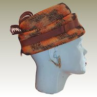 1960s Howard Hanlon Original Orange and Brown Plaid Hat with Fancy Grosgrain Ribbon Highlights