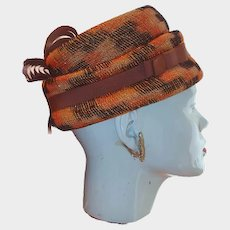 Hanlon Original Orange and Brown Plaid Hat Fancy Grosgrain Highlights