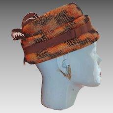 1960s Howard Hanlon Original Orange and Brown Plaid Hat with Fancy Grosgrain Ribbon Highlights