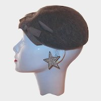 Beret Gray Wool Grosgrain Ribbon Accent by Henry Pollak Co, NY