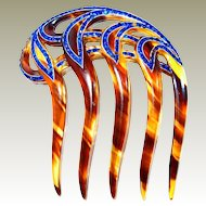 Blue Rhinestone Celluloid Tortoise Art Deco FINAL REDUCTION SALE  Hair Comb