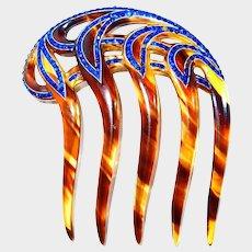 Blue Rhinestone Celluloid Tortoise Art Deco Hair Comb