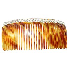 Early Painted Rhinestone Celluloid Tortoise Shell Sidecomb Hair Ornament