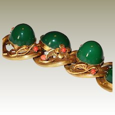 Extraordinary Rolled Gold Ring Art Nouveau Motif Bracelet