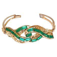 Green Baguette Rhinestone Scrolled Bracelet FINAL REDUCTION SALE