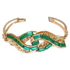 Green Baguette Rhinestone Scrolled Bracelet