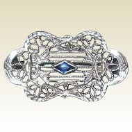 Art Deco 10k Blue Sapphire Filigree Pin