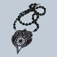 Gutta-Percha and Jet Cameo Victorian Mourning Necklace Last Chance SALE