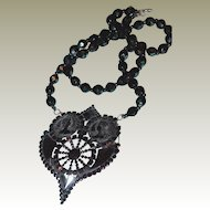 FINAL REDUCTION SALE Gutta-Percha and Jet Cameo Victorian Mourning Necklace