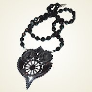 Gutta-Percha and Jet Cameo Victorian Mourning Necklace