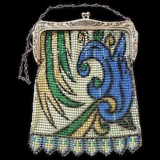 Dresden Enameled Whiting and Davis Mesh Bag with Art Deco Egyptian Revival Design, Made in America