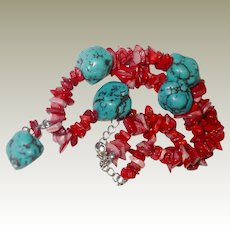 Chinese Turquoise Coral Nugget Necklace