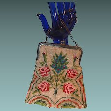 Art Deco Seed Bead Purse with Roses and Pineapple Motif
