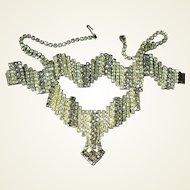 Unique Zigzag Yellow Smoke Rhinestone Necklace Bracelet