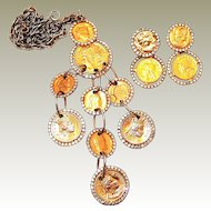Les Bernard Coin Pendant and Earring Set on FINAL REDUCTION SALE