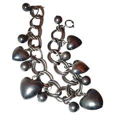 Puffy Sterling Heart Charm/Bead Bracelet