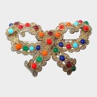 1930s Multi-Colored Cabochon Bow Brooch