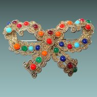 Multi-Colored Cabochon Bow Brooch in Semi-Precious Colored Plastic Stones