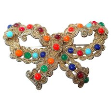 Multi-Colored Cabochon Bow Brooch on FINAL REDUCTION SALE