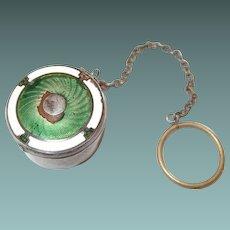 Art Deco Guilloche German Silver Rouge Compact Green Enamel and Powder Puff