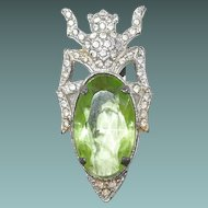 Green Crystal Egyptian Beetle Dress Clip Paved Rhinestones 1931 by Waller
