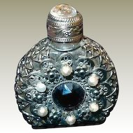 Miniature Jeweled Perfume Purse Bottle with Stopper