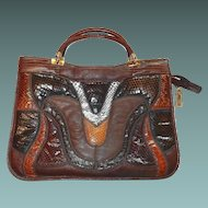 Genuine Snake Reptile Patchwork Purse Shoulder Bag in Browns