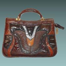 Genuine Snake Reptile Patchwork Purse Shoulder Bag in Browns